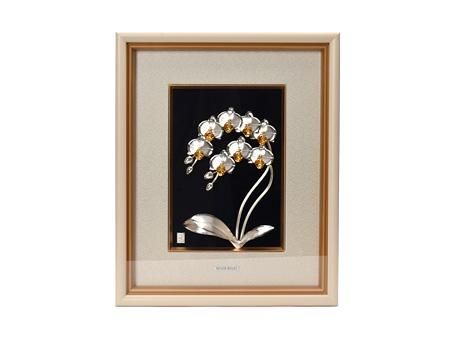 大淵銀器 蝴蝶蘭雙支(中號)純銀制貴金屬畫
