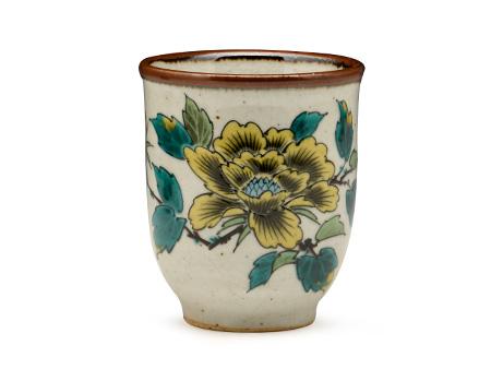 日本九谷燒 茶碗水杯 黃牡丹