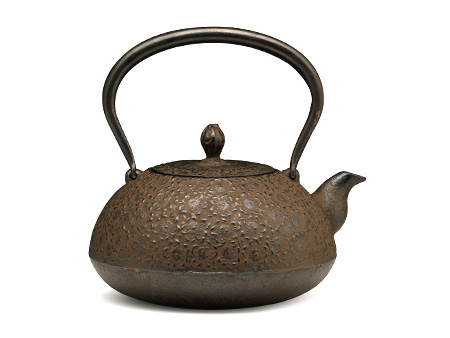 松鹿堂 寶珠型鐵壺 櫻(褐色)