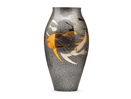 高岡銅器 細壺形千羽鶴花瓶