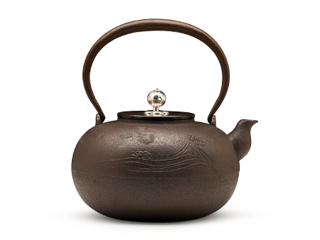 清光堂 平丸形波千鳥鐵壺