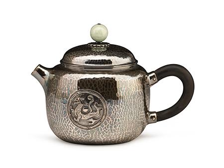 小笠銀器 薰銀錘紋小茶壺(拋光)