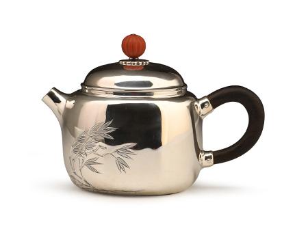 小笠銀器 純銀竹紋鏨刻小茶壺